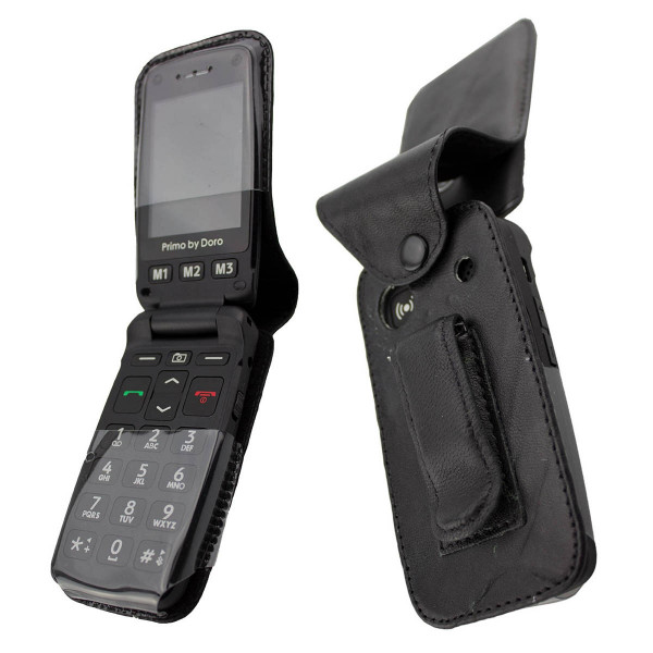 caseroxx Leather-Case with belt clip for Doro Primo 406 made of genuine leather, mobile phone cover in black