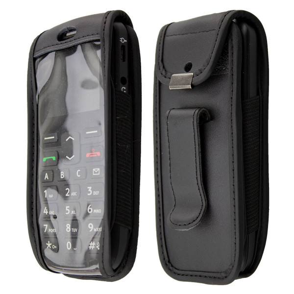 caseroxx Leather-Case with belt clip for Doro PhoneEasy 506 made of genuine leather, mobile phone cover in black