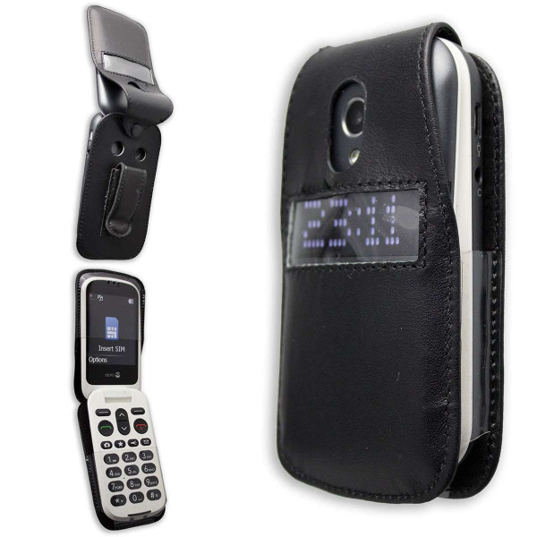 caseroxx Leather-Case with belt clip for Doro 6050 / 6051 made of genuine leather, mobile phone cover in black