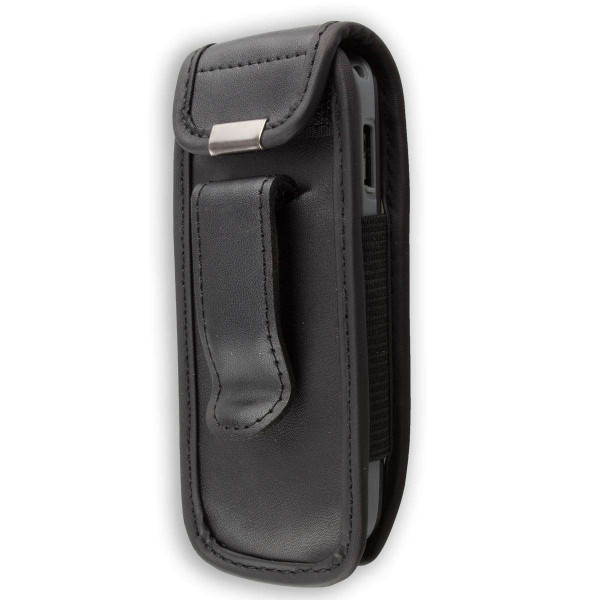 caseroxx Leather-Case with belt clip for Samsung E1080 made of genuine leather, mobile phone cover in black