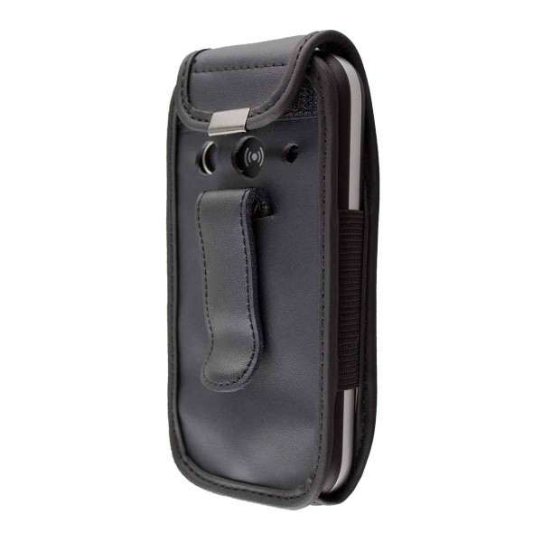 caseroxx Leather-Case with belt clip for Doro 1360 / 1361 / 1362 made of genuine leather, mobile phone cover in black