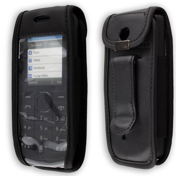 caseroxx Leather-Case with belt clip for Nokia 109 made of genuine leather, mobile phone cover in black