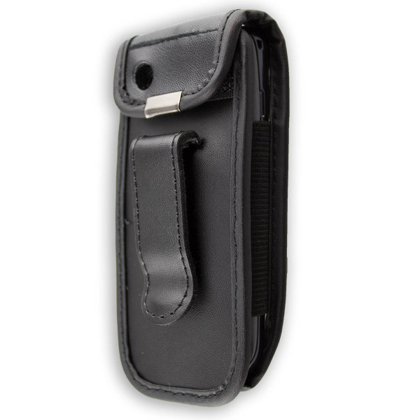 caseroxx Leather-Case with belt clip for Nokia Asha 300 made of genuine leather, mobile phone cover in black