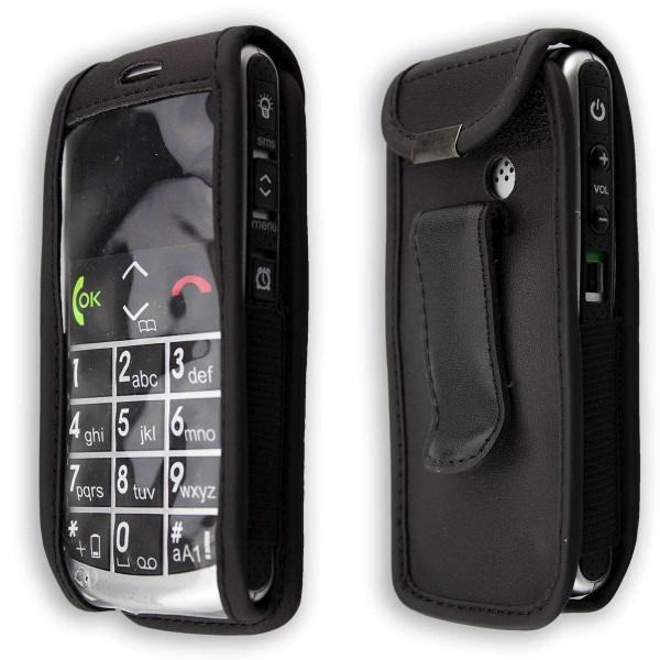 caseroxx Leather-Case with belt clip for Emporia Talk Comfort / Plus made of genuine leather, mobile phone cover in black