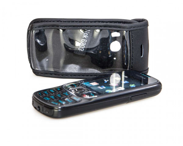 caseroxx Leather-Case with belt clip for Nokia 6303 und 6303i made of genuine leather, mobile phone cover in black