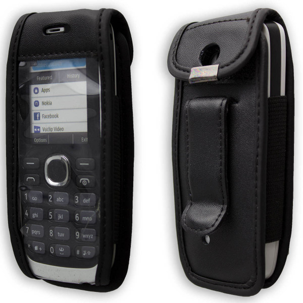 caseroxx Leather-Case with belt clip for Nokia 113 made of genuine leather, mobile phone cover in black
