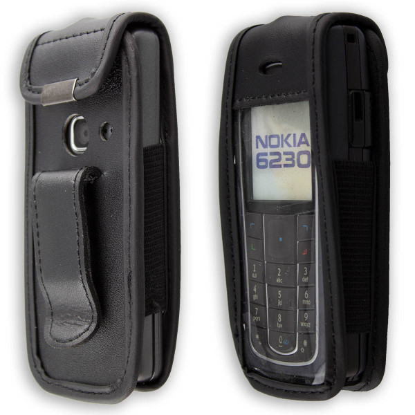 caseroxx Leather-Case with belt clip for Nokia 6230, 6230i made of genuine leather, mobile phone cover in black