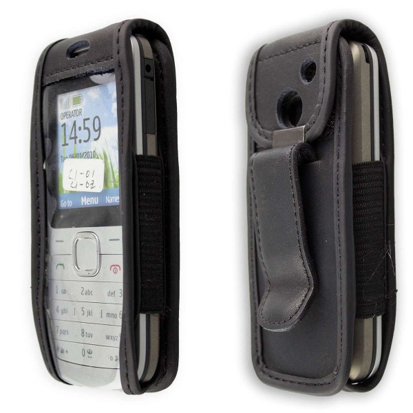 caseroxx Leather-Case with belt clip for Nokia C1-01 made of genuine leather, mobile phone cover in black