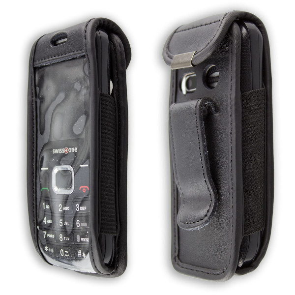 caseroxx Leather-Case with belt clip for Swisstone SC230 made of genuine leather, mobile phone cover in black