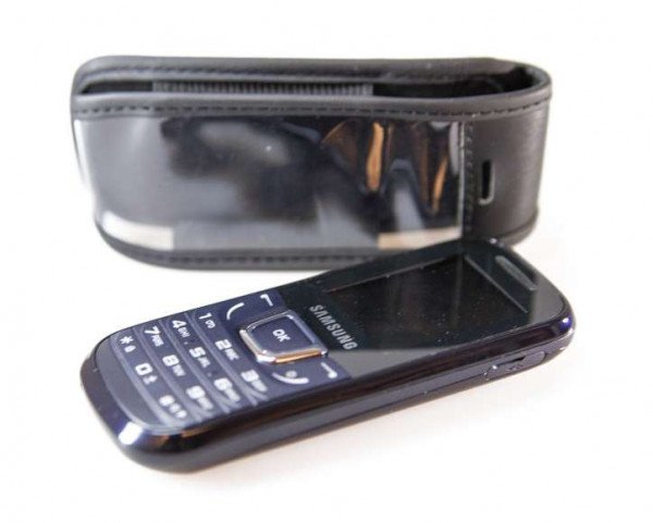 caseroxx Leather-Case with belt clip for Samsung GT E-1280 made of genuine leather, mobile phone cover in black