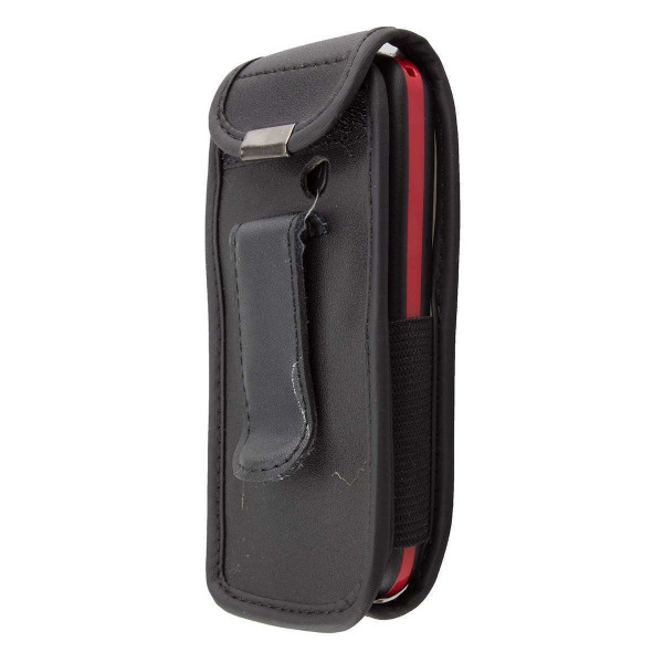 caseroxx Leather-Case with belt clip for Amplicomms PowerTel M6350 made of genuine leather, mobile phone cover in black