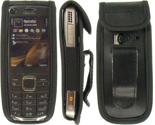 caseroxx Leather-Case with belt clip for Nokia 6720 Classic made of genuine leather, mobile phone cover in black