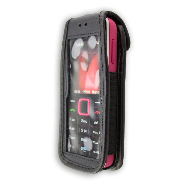 caseroxx Leather-Case with belt clip for Nokia 3500 made of genuine leather, mobile phone cover in black