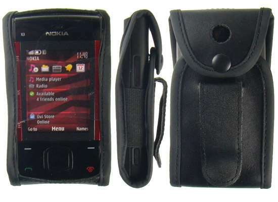 caseroxx Leather-Case with belt clip for Nokia X3-00 made of genuine leather, mobile phone cover in black