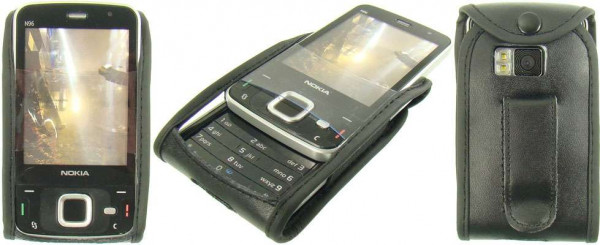 caseroxx Leather-Case with belt clip for Nokia N96 made of genuine leather, mobile phone cover in black