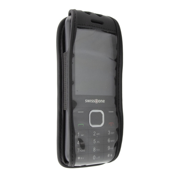 caseroxx Leather-Case with belt clip for Swisstone SC 580 made of genuine leather, mobile phone cover in black