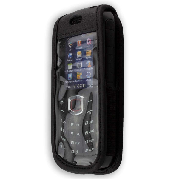 caseroxx Leather-Case with belt clip for Samsung B2710 made of genuine leather, mobile phone cover in black
