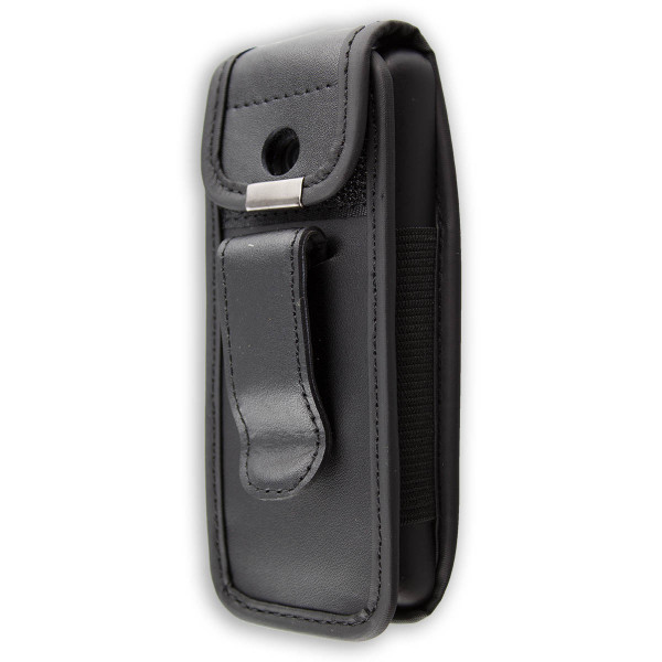 caseroxx Leather-Case with belt clip for Nokia 220 made of faux leather, mobile phone cover in black