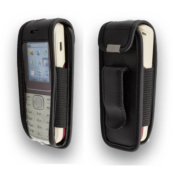 caseroxx Leather-Case with belt clip for Nokia 1650 made of genuine leather, mobile phone cover in black