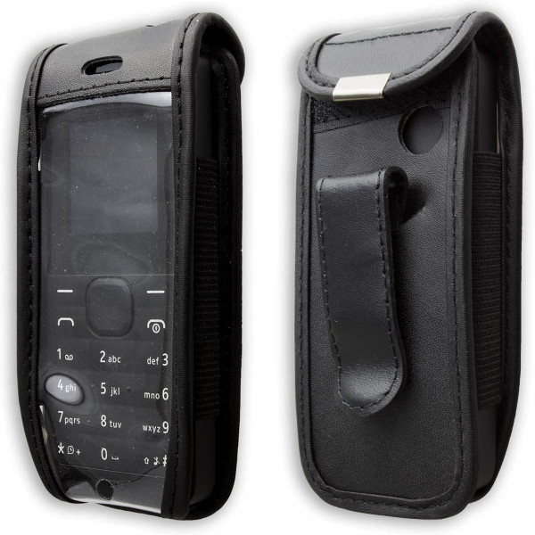 caseroxx Leather-Case with belt clip for Nokia 105 made of genuine leather, mobile phone cover in black