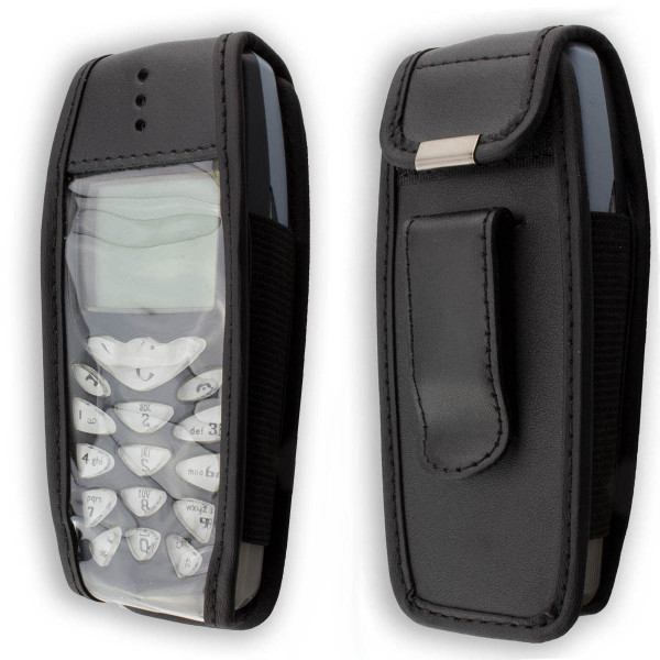 caseroxx Leather-Case with belt clip for Nokia 3510 3510i made of genuine leather, mobile phone cover in black