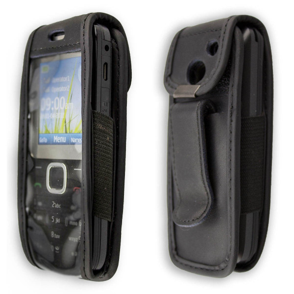 caseroxx Leather-Case with belt clip for Nokia C2-00 made of genuine leather, mobile phone cover in black