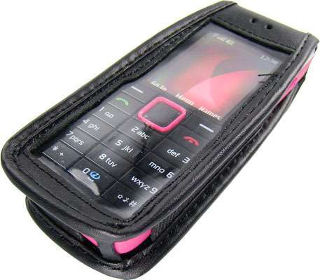 caseroxx Leather-Case with belt clip for Nokia 5610 XpressMusic made of genuine leather, mobile phone cover in black