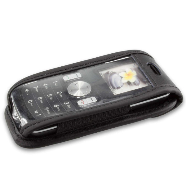 caseroxx Leather-Case with belt clip for LG GB102 made of genuine leather, mobile phone cover in black