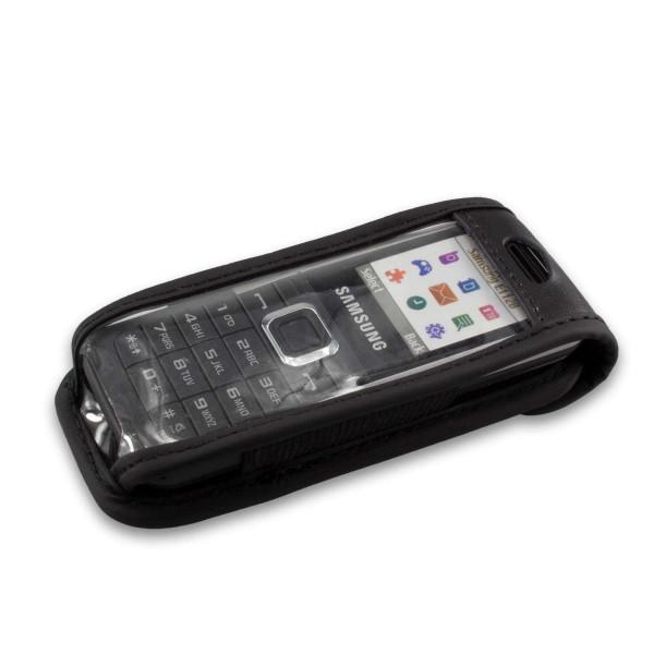 caseroxx Leather-Case with belt clip for Samsung E1120 made of genuine leather, mobile phone cover in black