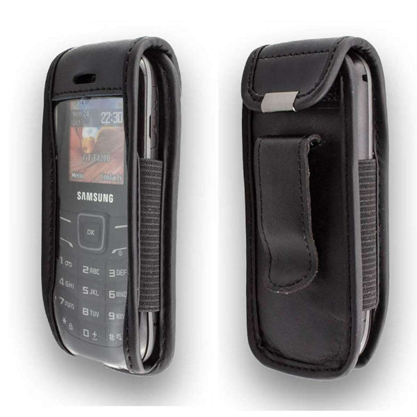 caseroxx Leather-Case with belt clip for Samsung GT E-1200 Keystone 2 made of genuine leather, mobile phone cover in black