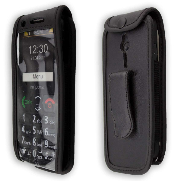 caseroxx Leather-Case with belt clip for Emporia Eco C160 made of genuine leather, mobile phone cover in black